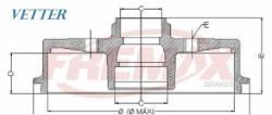 TAMBOR DE FREIO - GM CHEVROLET AGILE 1.4 8V ANO 09... / CLASSIC 1.0 ANO 10... / CORSA TDS ANO 93 / CORSA SEDAN 1.0 16V ANO 99/01 TRASEIRO